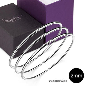 Boxed 3 pcs Solid Golf Bangle 2mm Set in White Gold - Brilliant Co