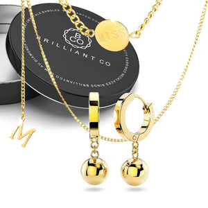 Boxed Miss Letter M Necklace with Brilliant Ball Huggie Earrings in Gold - Brilliant Co