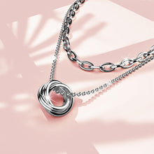 Boxed Swirl Pendant Necklace with Mini Barrel Loop Earrings in White Gold - Brilliant Co