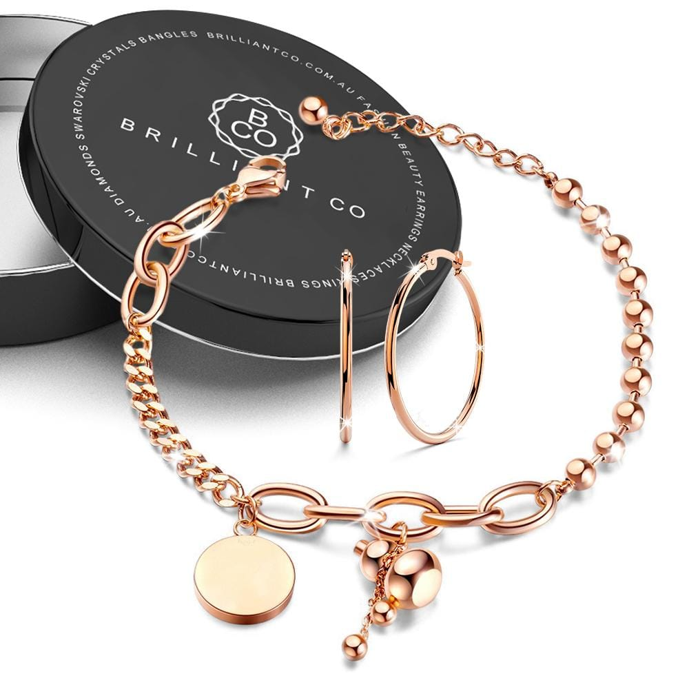 Boxed Vase Bracelet with Trishia Hoop Earrings in Rose Gold - Brilliant Co