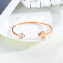 Boxed Heart Love Open Cuff Bangle with Trishia Hoop Earrings in Rose Gold - Brilliant Co