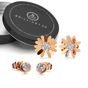 Boxed Morning Daisy and To Be Cherished Earrings in Rose Gold - Brilliant Co