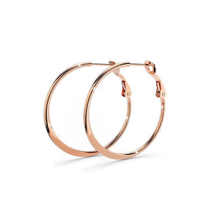 Boxed Awaken Engraved Pendant with Semi Flattened Hoop Earrings in Rose Gold - Brilliant Co