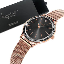 Krystal Couture Geometric Mineral Glass Feat Swarovski Crystal Watch Rose Gold Black - Brilliant Co