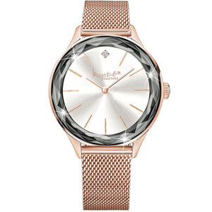 Krystal Couture Geometric Mineral Glass Feat Swarovski Crystal Watch Rose Gold White