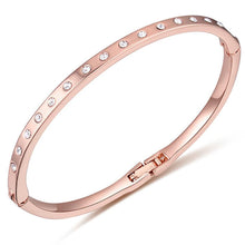 In-Line Bangle Rose Gold Embellished with Swarovski crystals - Brilliant Co