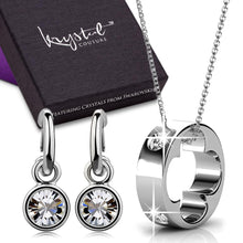 Boxed Necklace and Earrings Set Embellished with Swarovski crystals - Brilliant Co