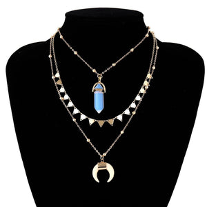 Multilayer 3 Piece Night Sky inspired Layering Gold Necklace - Brilliant Co