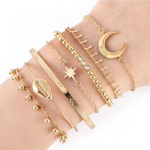 Bohemian 7-Piece Charm Bead Bracelet Set - Brilliant Co