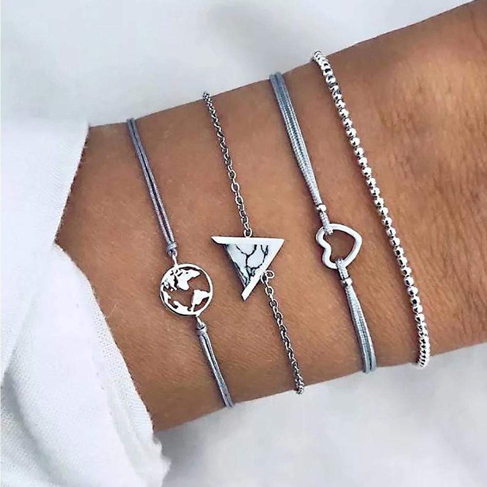 Bohemian 4-Piece Charm Bead Bracelet Set - Brilliant Co