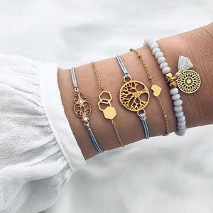 Bohemian 5-Piece Charm Bead Bracelet Set - Brilliant Co
