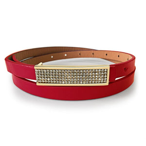 Leather Belt With Gold Buckle Red - Brilliant Co