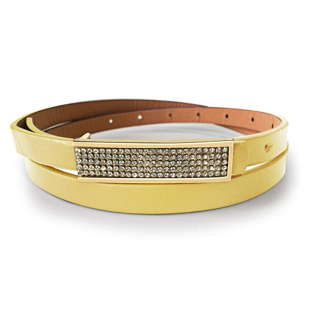 Leather Belt With Gold Buckle White - Brilliant Co
