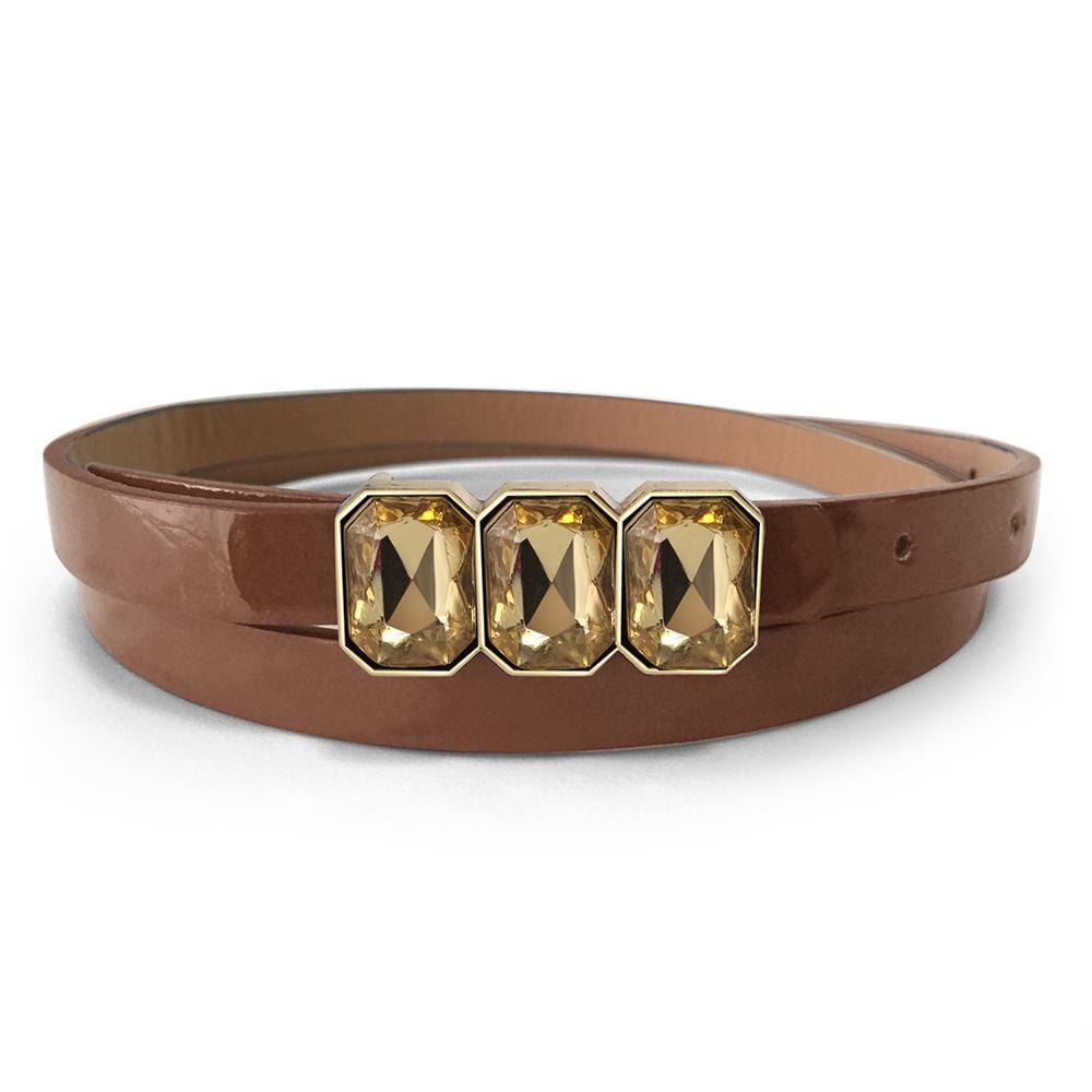 Leather Belt With Crystals White - Brilliant Co