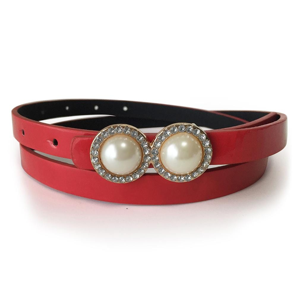 Leather Belt With Pearls & Crystals White - Brilliant Co