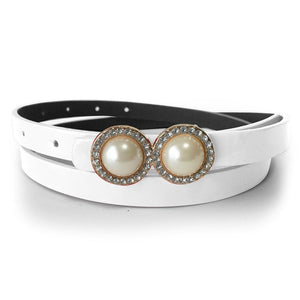 Leather Belt With Pearls & Crystals Red - Brilliant Co