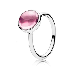 Pink Poetic Medium Droplet Feature Ring