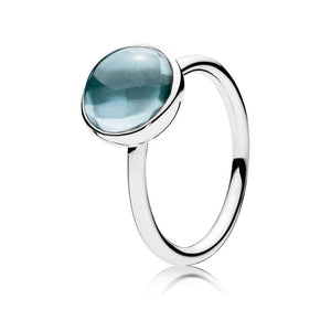 Aqua Blue Medium Droplet Feature Ring