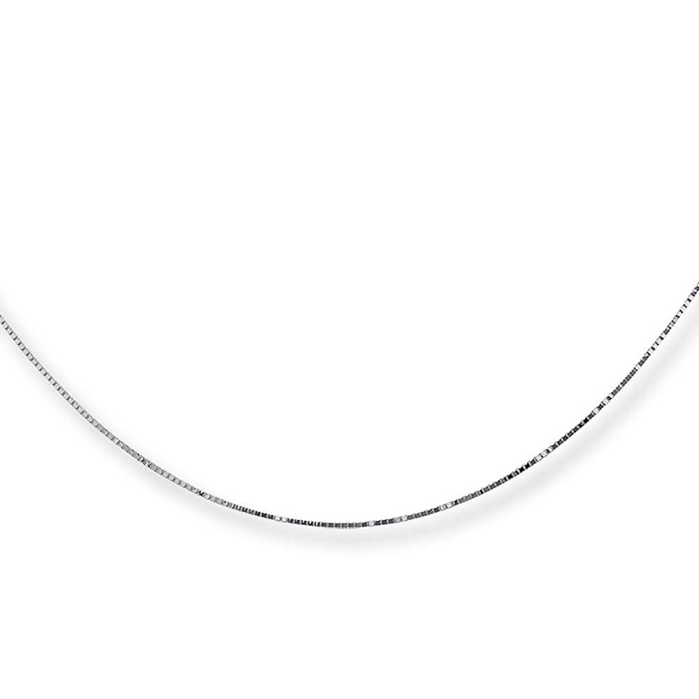 18ct White Gold Box Chain Made in Italy