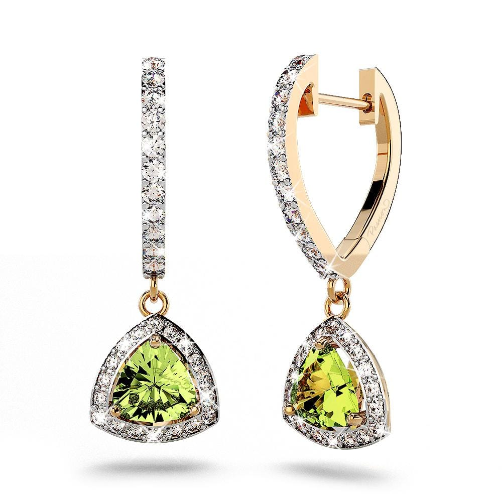 14ct Yellow Gold 1.60ct Peridot & 0.40ct Diamond   Drop Earrings