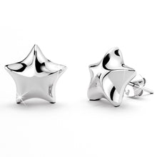 18ct White Gold Puff Star Stud Earrings