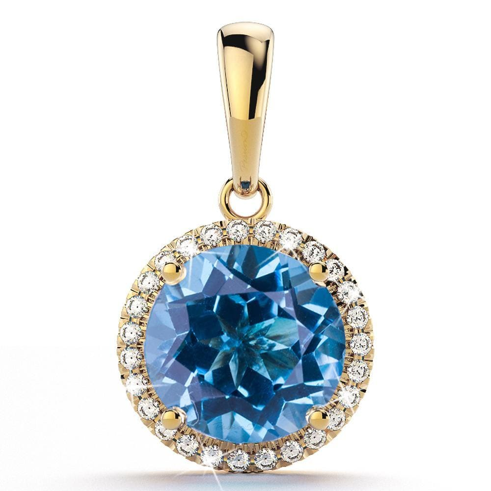 2.80ct Intense Blue Topaz 0.15ct Diamonds 14ct Yellow Gold Pendant