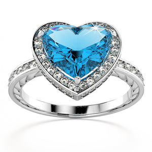 14K White Gold 3.60ct Blue Topaz & 0.45ct Diamond Engagement Ring