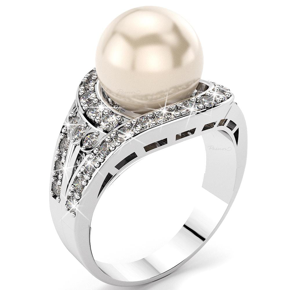 14K White Gold 12mm Round Akoya Pearl & 1.25ct Diamond Ring