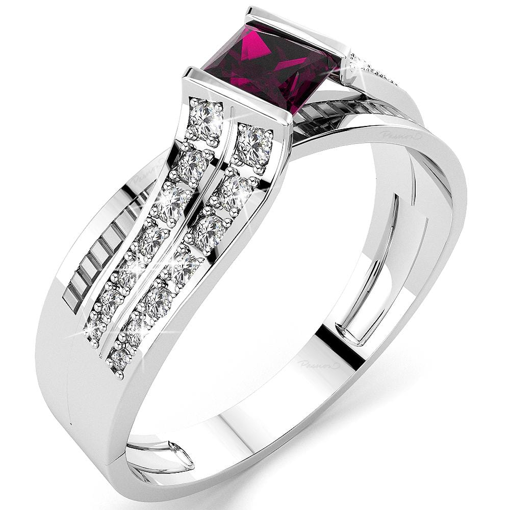 14K White Gold 1.25ct. tw. SIAGON Ruby Diamond Ring