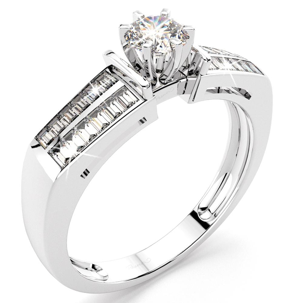 0.89ct. tw. Vaguette Diamond Engagement Ring (JAA/NCJV Certified) - Brilliant Co