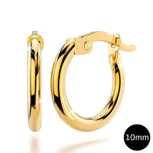 9K Yellow Gold 10mm Rounded Hoop Earrings