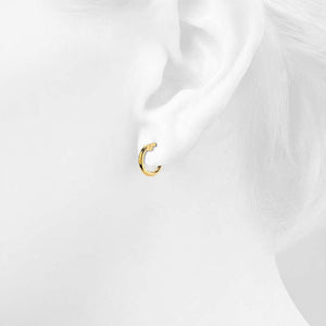 9ct Yellow Gold 10mm Rounded Hoop Earrings