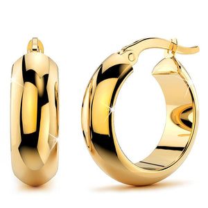 9K Yellow Gold 10mm Wide Hoop Earrings