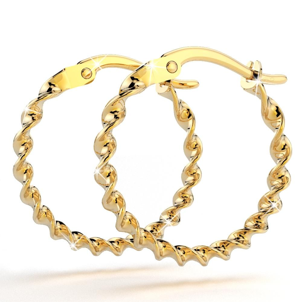 9K Yellow Gold 15mm Twister Hoop Earrings