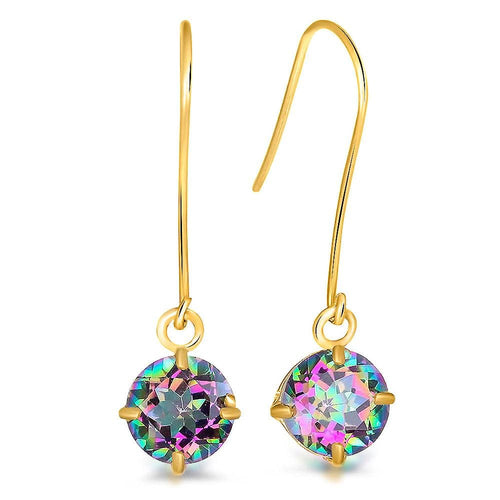 9K Yellow Gold 1.10K Round Mystic Topaz Drop Earrings