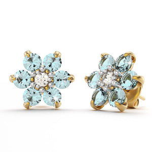9ct Yellow Gold 0.65ct Aquamarine & Diamond Floral Earrings