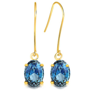 9K Yellow Gold 1.80ct Oval Blue Topaz Drop Earrings