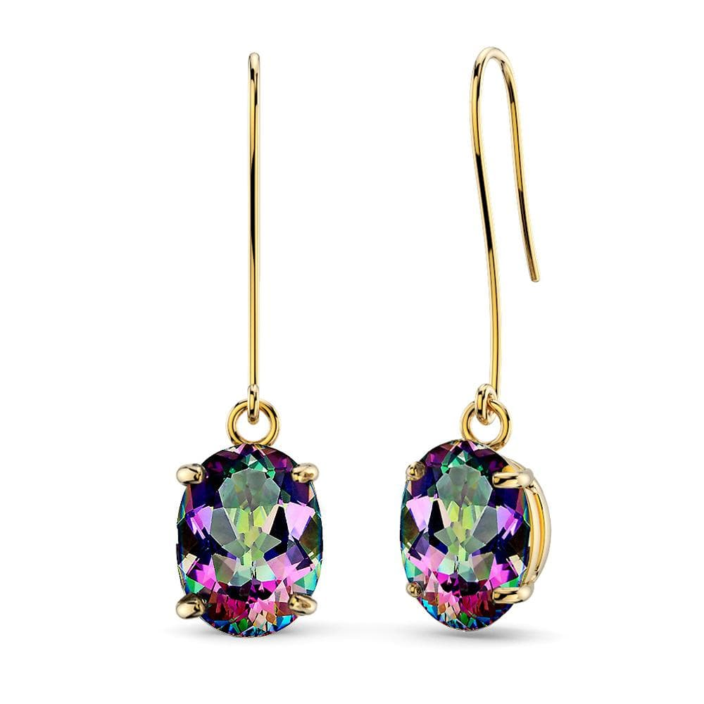 9K Yellow Gold 1.80ct Oval Mystic Topaz Drop Earrings