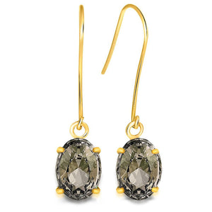 9K Yellow Gold 1.80ct Oval Smokey Topaz Drop Earrings