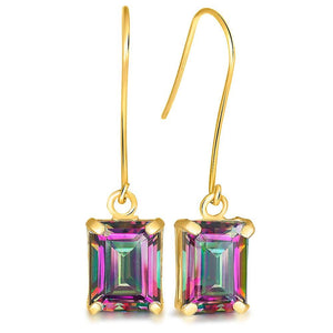 9K Yellow Gold 2.20ct Octagon Mystic Topaz Drop Earrings