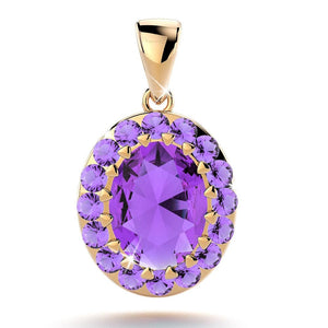 9K Yellow Gold 3.10K Amethyst Pendant