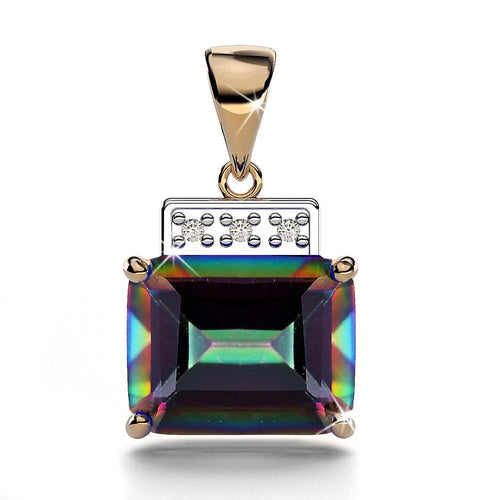 9ct Yellow Gold Octagon Mystic Topaz & Diamond Pendant
