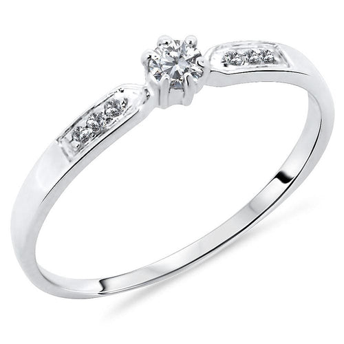 10K White Gold 0.14 Carats Accented Diamond