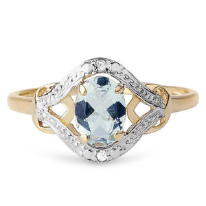 9ct Yellow Gold 0.80ct Oval Aquamarine & Diamond Dinner Ring