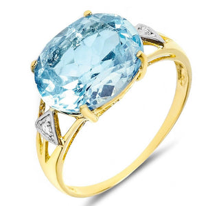 9ct Yellow Gold 5.20ct Blue Topaz & Diamond Cocktail Ring