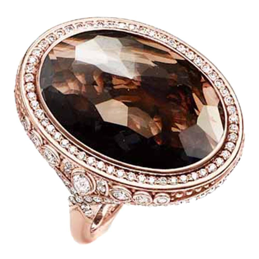Opulent Smoky Quartz Rose Ring