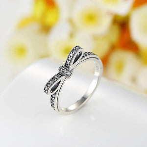 Solid 925 Sterling Silver Embellished with Cubic Zircon Butterfly Bow Ring - Brilliant Co