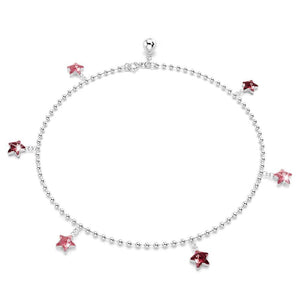 Solid Sterling Silver 925 Star Charm Anklet