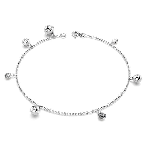 Solid Sterling Silver 925 Cz Charm Anklet 26cm