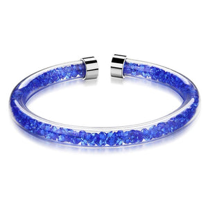 Solid 925 Sterling Silver Viva La Krystal Bangle (Blue)